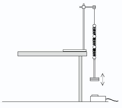 suspend the spring from a clamp and attach a mass to the free end  adjust  the height of the clamp so that the mass is about 30 cm above the motion  sensor,
