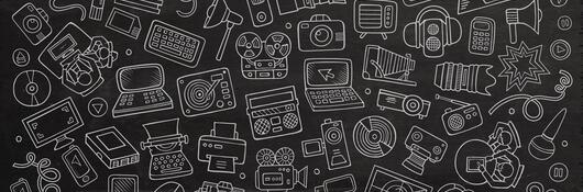 White doodles of cameras and computers on black background.